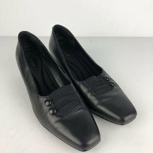 Liz Baker  Black Leather Pumps Slip On Shoes 9M
